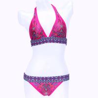 Sexy Summer Floral Print Bikinis Set High Waist Push Up Women Bandage Swimwear Swimsuit Vintage Bathing Beachwear Bra bkn05