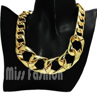 Spring New 2014 Shiny Gold Acrylic CCB Hip Hop Curb Chain Fashion Necklace Jewelry For Women
