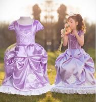 1 PCS 2014 NEW cartoon kids wear sofia princess dresses summer cute baby girl tutu dress, children clothing dress