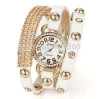 2014 New Fashion PU Leather Strap Wrap Watches Wristwatch Golden Case Chain Women Rhinestone Dress Watches