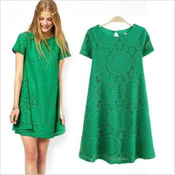 Women's summer one-piece dress strapless elegant short-sleeve lace decoration female plus lace dress S-3XL free shipping 8825