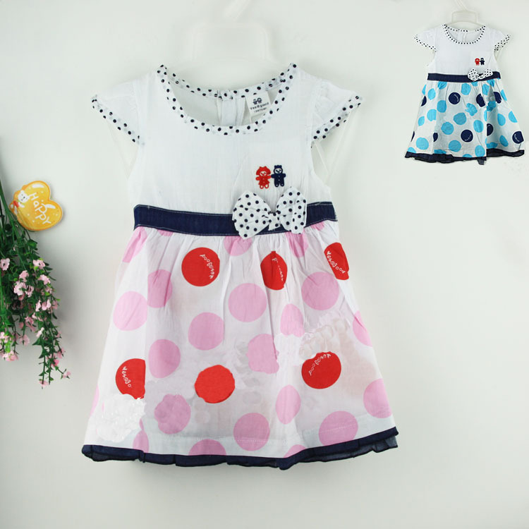2015 Baby Girls White Dresses With Denim Cotton Patchwork And Butterfly For Children Red Blue Dot Print Dress Princess Brand(China (Mainland))