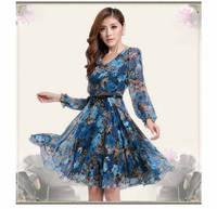 New 20145 summer dress Women Casual long maxi flower Print Chiffon vintage Dress longos vestidos casual free shipping
