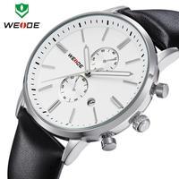 Genuine Leather Watch Men Military Wristwatch Original Japan Miyota 2115 Quartz Analog 3ATM Casual Fashion Brand WEIDE Hot Sale