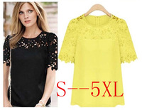 New spring 2014 summer linen thread empty chiffon short sleeve fashion women shirts&blouses atacado roupas femininas plus size
