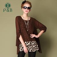 2014 Fashion New L-5XL Leopard Printed Plus Size Women Chiffon Blouse