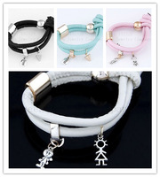 2014One of the most popular!Concise fashion droplets leather Bracelets & Bangles!4 style restoring ancient ways optional bangle