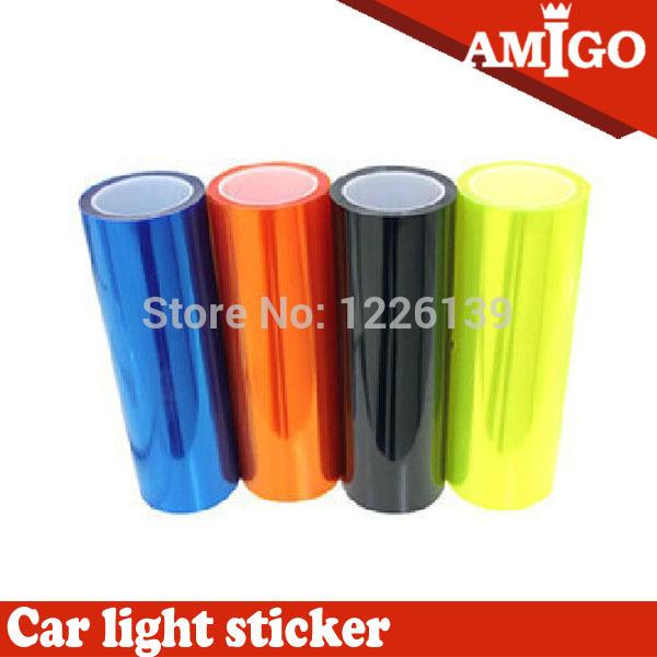 Free Shipping 12 Colors 30cm x100cm Auto Car Light Headlight Taillight Tint Vinyl Film Sticker Hot Sales Stick whole car(China (Mainland))