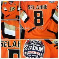stitched 2014 Stadium Series Anaheim Ducks Jerseys #8 Teemu Selanne Orange Premier Ice Hockey Jersey /shirt with C patch
