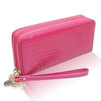 2014 Fashion Low Price Double Zipper Wristlet Embossed Pattern Purse Carteira Feminina Money Card Wallet WZ-204