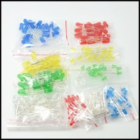 100PC/Lot 3MM 5MM Led Kit Mixed Color Red Green Yellow Blue White Light Emitting Diode