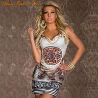 2014 beach dress for summer print vintage party evenning mini dress leopard dress for women sexy club dress WQL1108