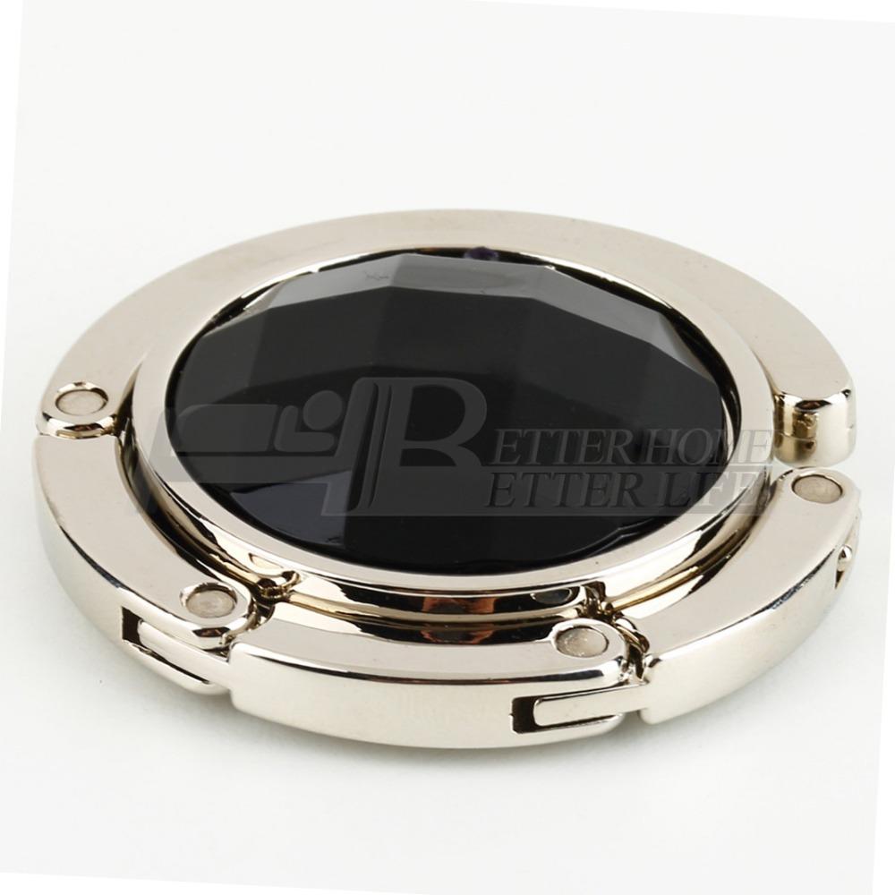 1pcs black Portable Folding Crystal Alloy Handbag Purse Hook Hanger Bag Holder Worldwide FreeShipping(China (Mainland))