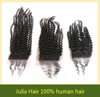 "100% human Brazilian Virgin hair Kinky Curl Human Hair Lace top Closure free part 4""x4"" bleached knots with baby hair"