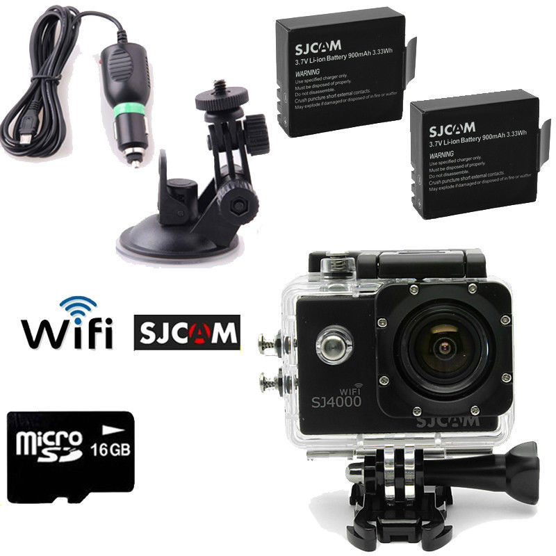 Free Shipping!16GB+SJCAM SJ4000 Wifi SJ4000W Sport Helmet Dash Camera DVR+Car Charger/Bracket(China (Mainland))