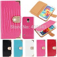 100PCS Diamond Magnetic Wallet crocodile grain Leather Flip Case Cover for Samsung Galaxy S5 SM-900 I9600