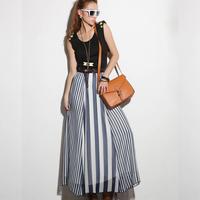 New Arrival Casual Fashion Womens Long Skirts Black White Irregular Stripes Full-length Skirts Maxi Chiffon Skirt lyq03