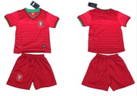 Infants and Children New! 2014 World Cup 14-15 Portugal home jersey Kids Set (jersey + shorts + socks)