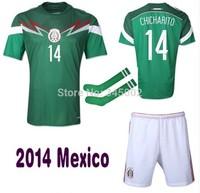 Mexico Home dos Santos Chicharito Guardado Soccer (Jersey+short+sock) 2014 world Cup Full Set,2014-2015 football jersey + Socks
