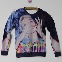 2014New Men Women's Miley Ray Cyrus smoking cigars girl 3D print character Pullover galaxy simple Sweatshirts Hoodies crop Tops