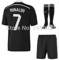 2015 Real Madrid 3rd black dragon  #7 cristiano ronaldo Soccer Jersey set + match sock,2015 football uniform