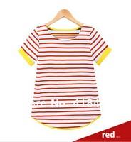 Summer short-sleeve T-shirt female black and white stripe top Women female 2014 short-sleeve t