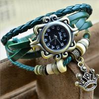 4 Colors Vintage Watches Handmade Woven Bracelet Watch Goddess Crown Wristwatch Free Shipping J3350