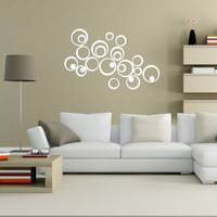 Home Decorations DIY Silver Mirror Wall Sticker Artistic Round Wall Decal