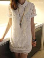 Women Summer Dress 2015 Elegant Ladies Chiffon Lace Dress Short Sleeve Lapels Casual White Dress Vestidos M,L Women's Clothing