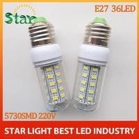 2014 NEW SMD 5730 36led 220V 12W E27 LED bulb lamp,LED Corn Bulb Light Candle crystal chandelier lighting waterproof free ship