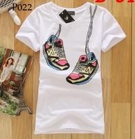 [Alice] new women t shirt 2014 summer cotton t-shirt short sleeve o neck cartoon printed tees 20models free shiping P001