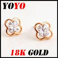 Fashion Limited Freeshipping Trendy Star Earrings 2014 New Jewelry Women Earring Bijoux 18k -plated Clover Zircon Earrings,hm004
