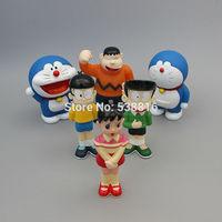 Drop Free Shipping PVC Action Prototype Toy Doraemon Models Garage Kit 10-12cm Family Sets 6PCS/LOT