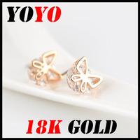 Fashion Limited Freeshipping Trendy Earrings 2014 New Jewelry Women Earring Bijoux 18k -plated Butterfly Zircon Earrings,hm009