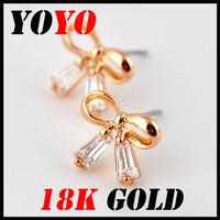 Fashion Hot Sale Freeshipping Earrings 2014 New Jewelry Women Earring Bijoux 18k -plated Lovely Bowknot Zircon Earrings,hm007