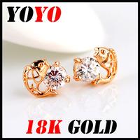 Fashion Real Freeshipping Trendy Earrings 2014 New Jewelry Women Earring Bijoux 18k -plated Goldfish Zircon Earrings,hm011