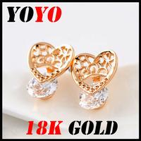 Fashion Time-limited Freeshipping Earrings 2014 New Jewelry Women Earring Bijoux 18k -plated Hollow Out Zircon Earrings,hm019