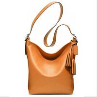 NEW 2014 Summer Women Messenger Bags Genuine Leather Fashion Tassel bag Shoulder Bags Casual Bucket Bag Women Leather Handbags