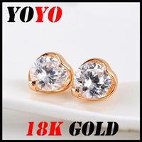 Fashion Special Offer Freeshipping Earrings 2014 New Jewelry Women Earring Bijoux 18k -plated Gift Heart Zircon Earrings,hm024