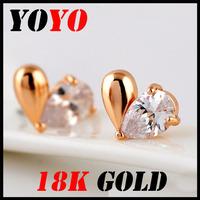 Fashion New Arrival Freeshipping Earrings 2014 New Jewelry Women Earring Bijoux 18k -plated Love Heart Zircon Earrings,hm023
