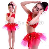 Fluffy gauze skirt Luxurious Latin Ballet Tutu dance dress kids children girl Professional Perform Costumes Feather Gold Pendent