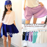 2014 new fashion Women's summer all-match solid color elastic waist loose small shorts pants skirt