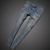 To Youth Fashion 2014 New Women's Vintage Jeans Slim Hole Diamond Pencil Pants Nine Light Color Nice Cotton Girl's Pants Retail
