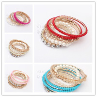 2014 hot!Fashion multilayer pearl bead Bracelets & Bangles!Delicate metal set auger bangle!5 style optional + free shipping