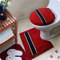 Free shipping soft flock printing three piece set toilet mat toilet set toilet seats cover toilet cushion potty pad promotion