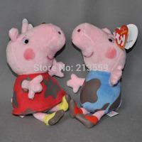 "Free Shpping 2pcs New Peppa Pig Plush Doll Stuffed Toy DIRTY PEPPA GEORGE 7""(18CM) Retail"