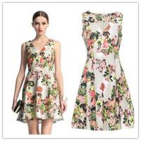 2014 New Fashion Women Clothing V-neck Print Sleeveless Women Summer Dresses N26648