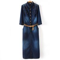 Autumn new European and American women's shoulder rivet belt denim dress Long dresses XXL