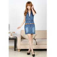 European and American women's fashion Slim sleeveless denim dress Jean dresses