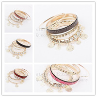 Europe and the United States hot!Multilayer fashion Bracelets & Bangles!Delicate metal crystal bracelet!The five style optional